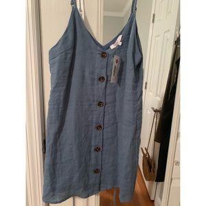 Olivaceous button down blue mini dress